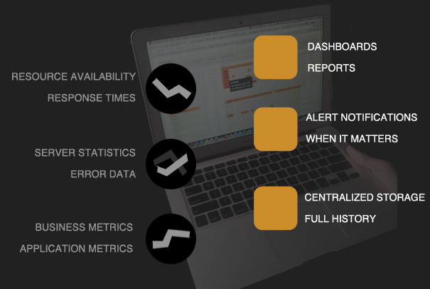 availability, response times, server statistics, error data, business metrics, application metrics, dashboard, notifications, reports, data history, storage